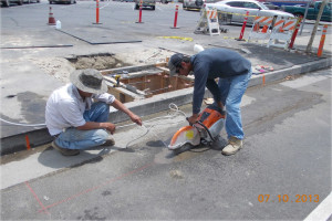 catch basin and warped gutter install