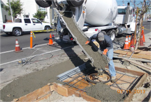 catch basin concrete pour